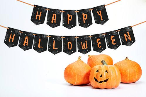 Happy Halloween Spider Web Bunting