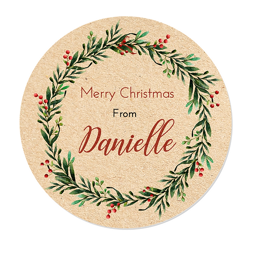 Personalised Kraft Effect Christmas Wreath Stickers