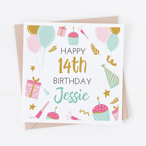 PERSONALISED Cupcake Party Birthday Card