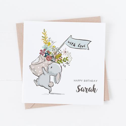 PERSONALISED Cute Bunny Birthday Card