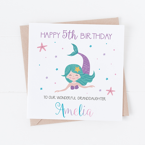 PERSONALISED Mermaid Birthday Card