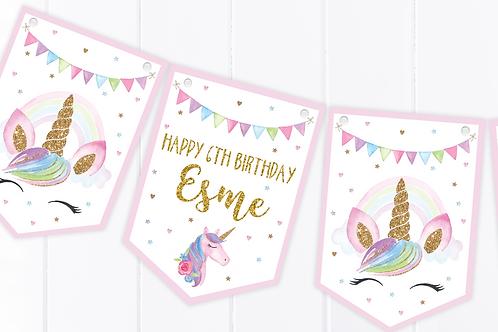 PERSONALISED Unicorn Happy Birthday Bunting