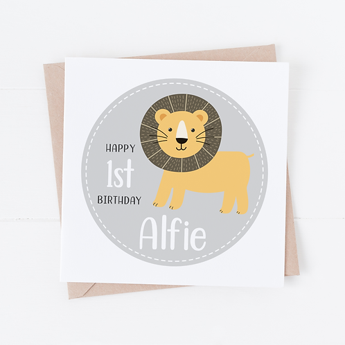 PERSONALISED Cute Lion Birthday Card