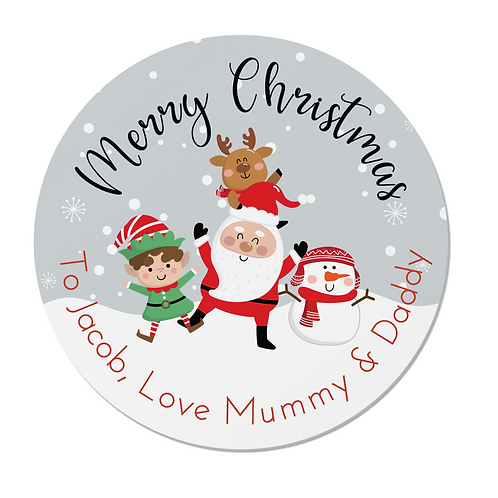 24 Personalised Santa and Friends Merry Christmas Stickers