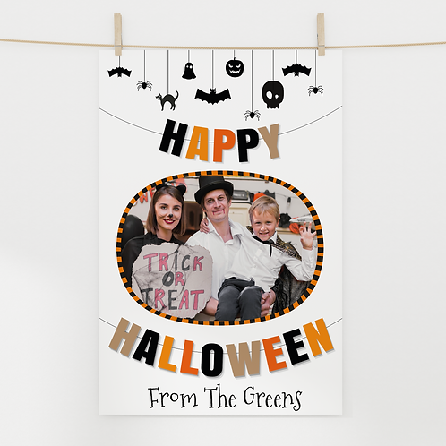 A3 or A4 Personalised Photo Halloween Poster - Bunting Design