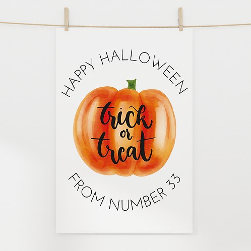 A3 or A4 Personalised Halloween Poster - Trick or Treat Pumpkin