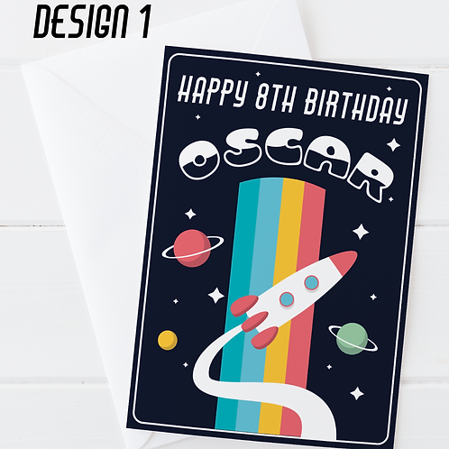 PERSONALISED Outer Space Birthday Card