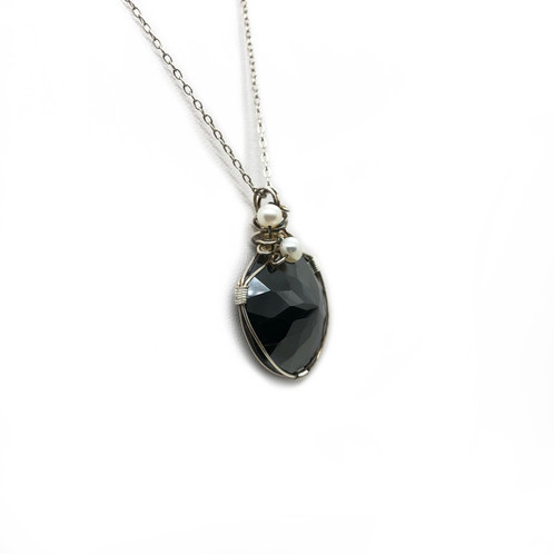 Wire sculpted hematite pendant unique wire sculpted jewellery the lustre and shine on this uniquely faceted hematite will definitely add sophistication to your outfit suitable to wear for the daytime or for a aloadofball Images
