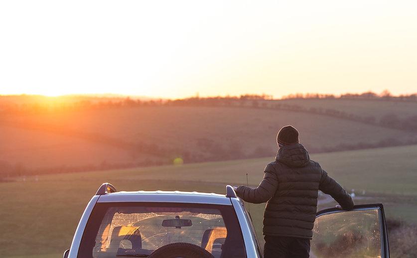 Staring at the sun on Salisbury Plain, Wiltshire, UK