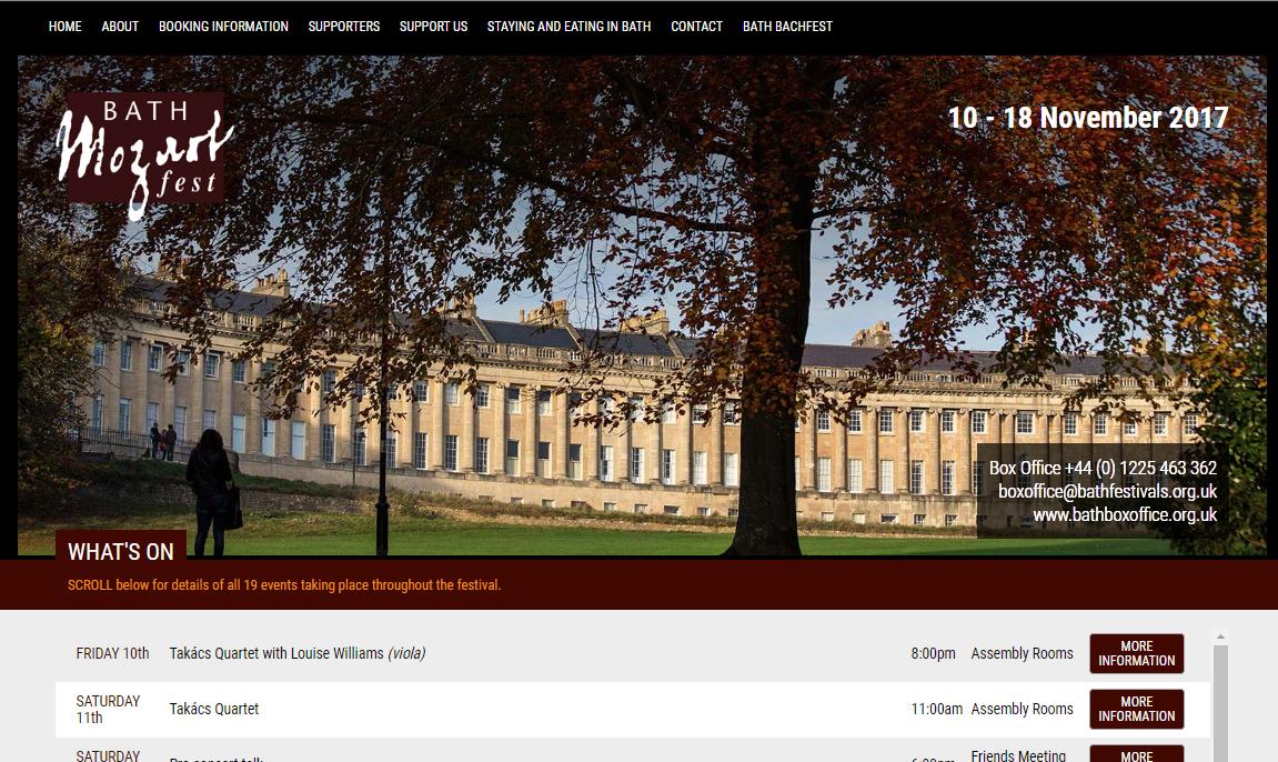 Mozartfest Bath - Website Design