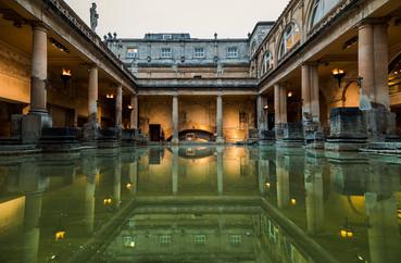 08 The Roman Baths - Twilight Torchlit Evening, Bath