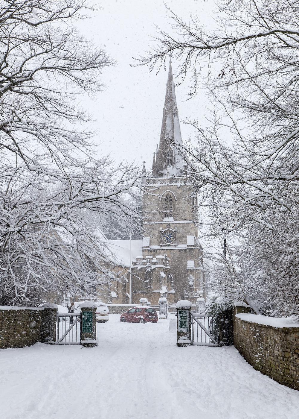 Winter comes to St Bartholomew's Church, Corsham