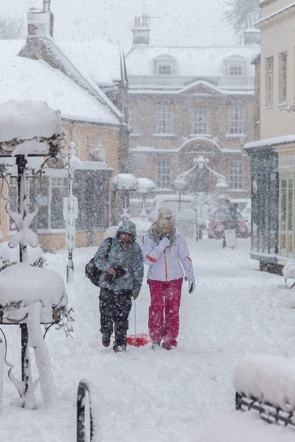 Braving the conditions after heavy snowfall in Corsham town centre