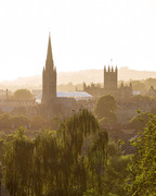 38 St John Church & Bath Abbey Sunset Haze View, Bath, UK