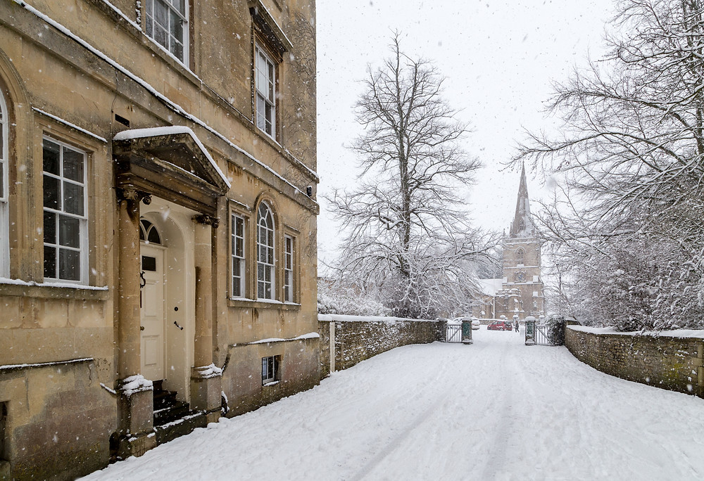 Church Street in Corsham - a whiteout in Wiltshire