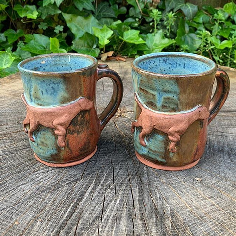 Pair of Custom Vizsla Mugs in Fire and Ice Pattern
