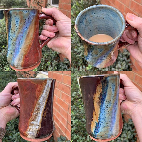 12 oz Large Mug in Dark Fire and Ice Pattern