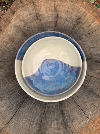 Blue and White Stacking Bowl Set
