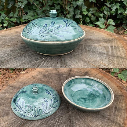 Green and Blue Floral Lidded Serving Bowl