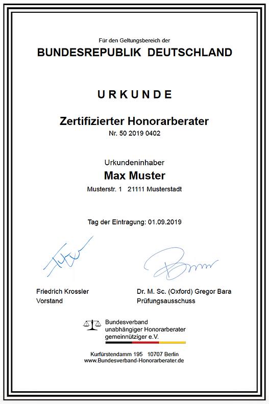 Urkunde Zertifizierung Honorarberater