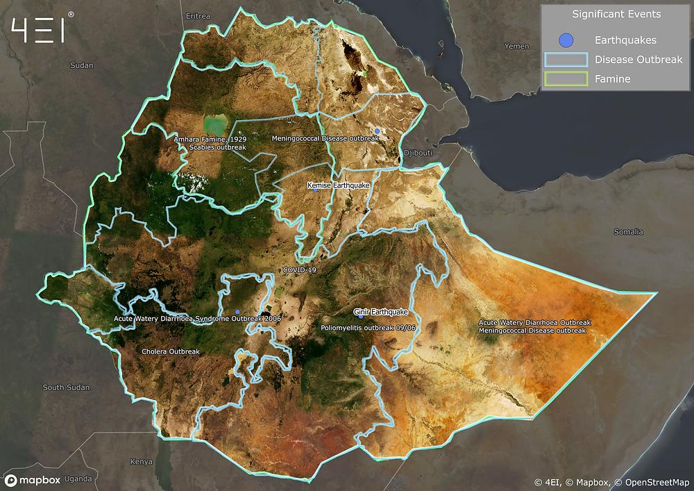 Ethiopia - Significant events (Disease, Famine, Earthquakes) © 4EI, © Mapbox, © OpenStreetMap