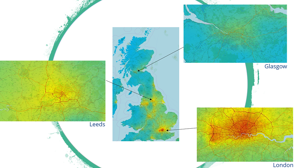 Image compares and contrasts air quality in three different UK cities; Glasgow, Leeds and London. Where red represents poor air quality shifting to blue which represents high air quality. ©4EI and KCL 2020