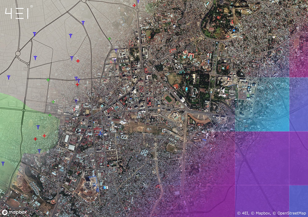 Addis Abada - Multiuse image combining Points of Interest & Landcover, Raw Imagery, and Wealth Index from top left to bottom right. Copyright: © 4EI, © Mapbox, © OpenStreetMap