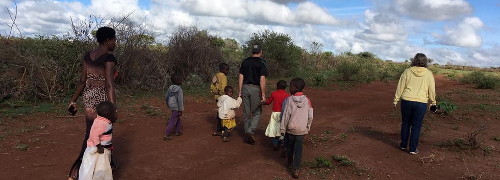 Walking to school in the bush