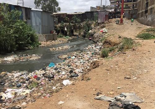Contaminated river running through Mathare
