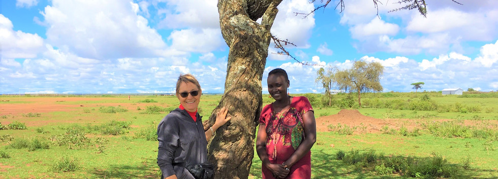 Our very own Norma Morris visits with future Montessorian, Steria, in the bush of Samburu
