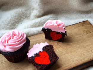 Valentine's Day hidden heart cupcakes