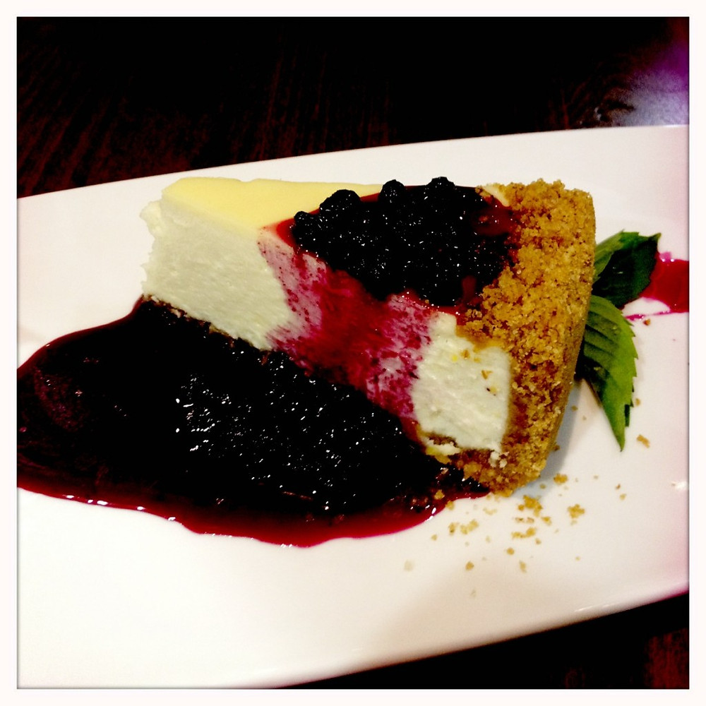Chevre cheesecake with blueberry preserves