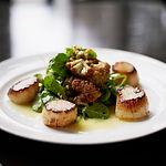 dinner plate of scallops