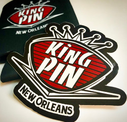 King Pin Stickers and Koozies