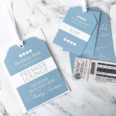 Race tag ticket style wedding invitations for a wedding at _haydockparkracecourse Request a free and personalised sample by visiting www.jpg