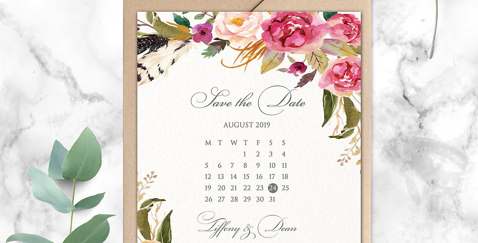 No.14   Feathers & Flowers Save the Date