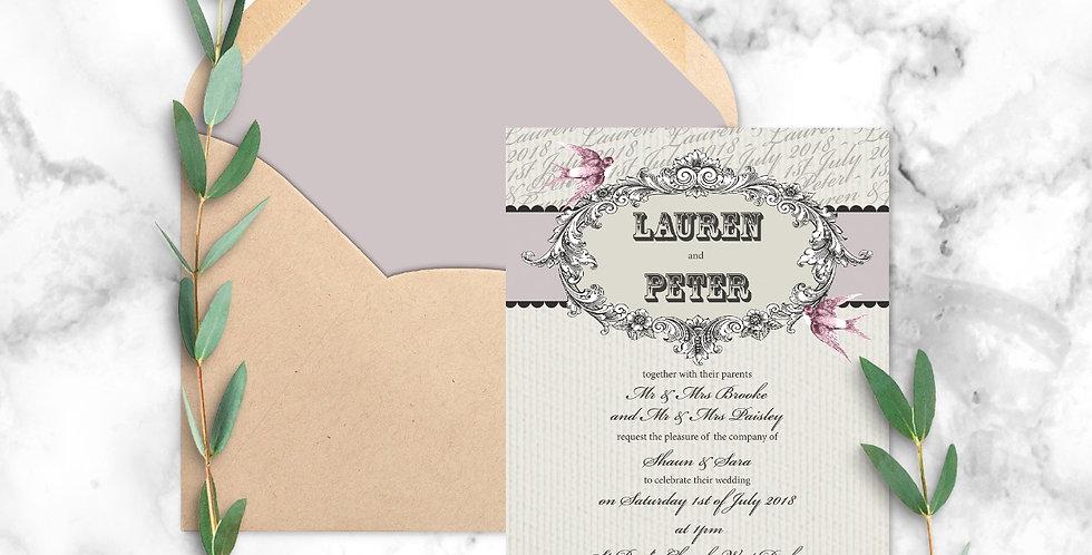 No.2 | Vintage Swallows Wedding Invitation