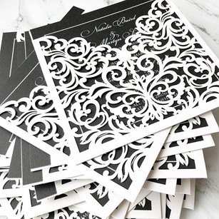 Stunning laser cut wallet invitations in black & white. Request a free and personalised sample by visiting www.byinvitationly.co.jpg