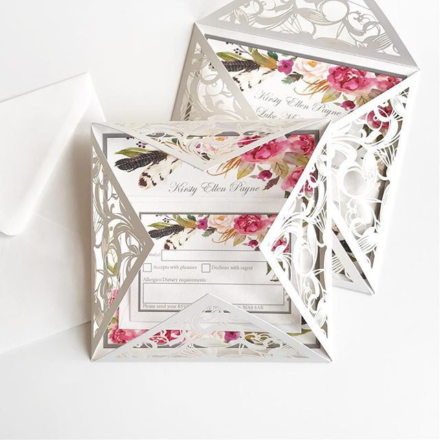Gorgeous floral laser cut wedding invitations with a mini RSVP card. You can request a free and personalised sample by visiting www.jpg