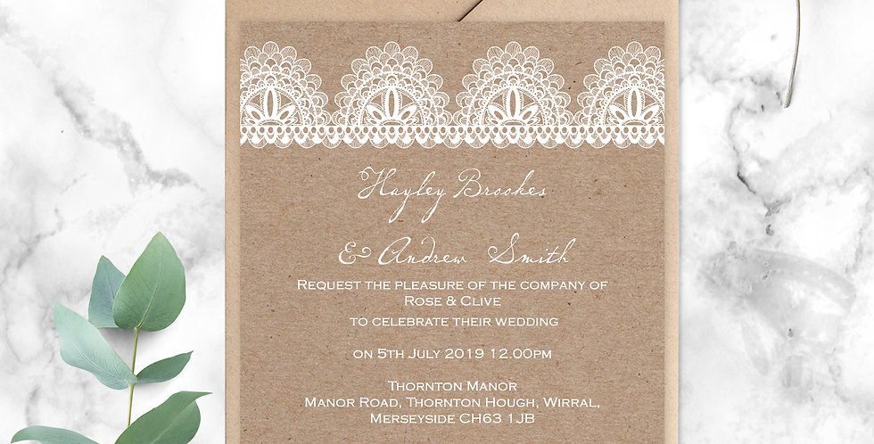 No.9 | Kraft & Lace Wedding Invitation