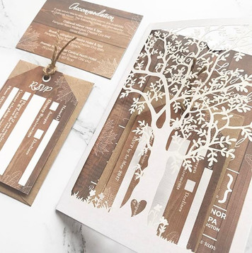 Rustic laser cut wedding invitation with tree detail. Request a free and personalised sample by visiting www.byinvitationly.co.jpg