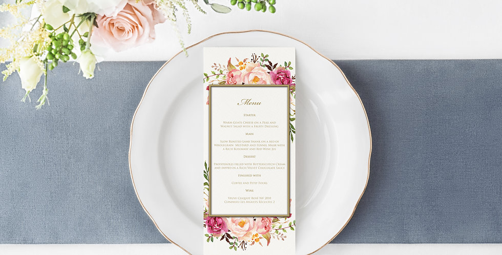 No 4. | Floral Blush Menu