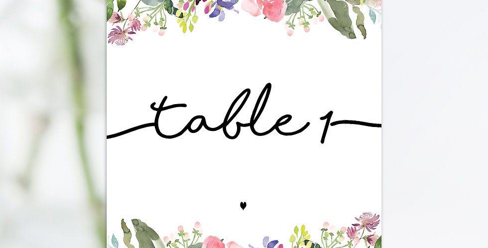 No 6. |  Wildflowers Table Names / Numbers