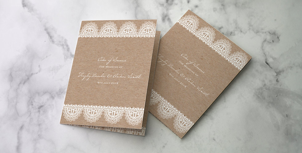 No.9 | Kraft & Lace Order of Service