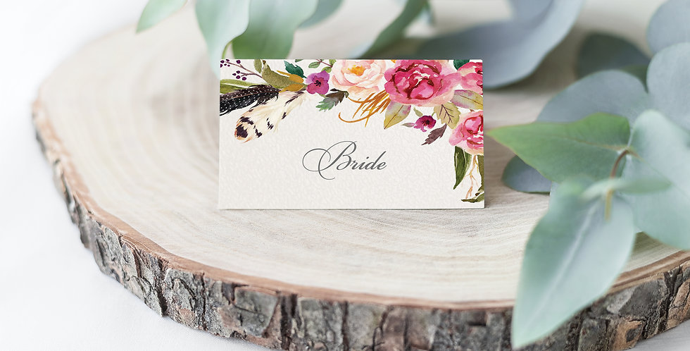 No.14 | Feathers & Flowers Place Card