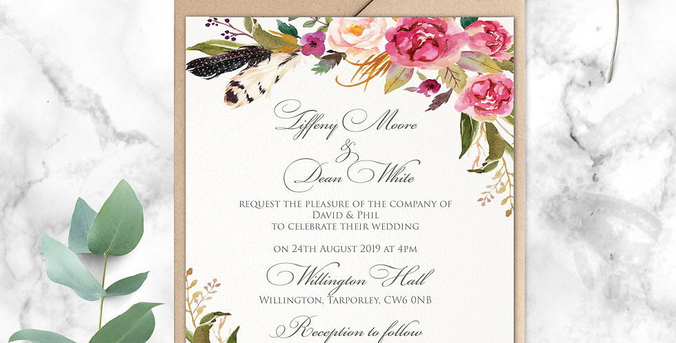 No.14 | Feathers & Flowers Wedding Invitation