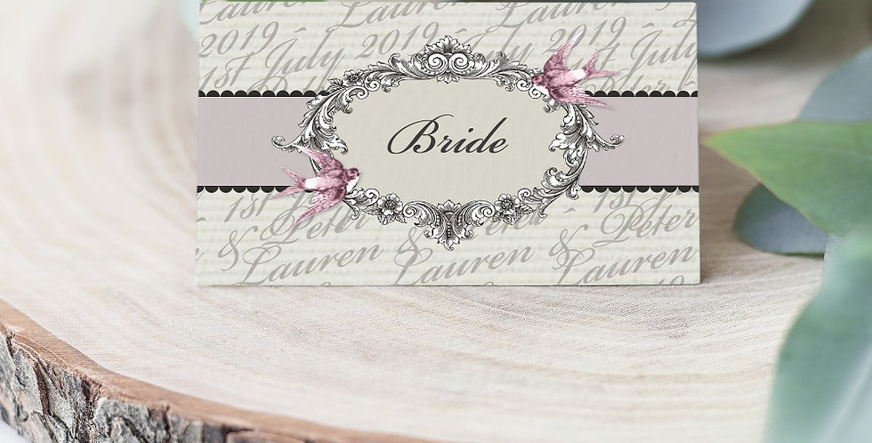 No 2. | Vintage Swallows Place Card