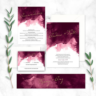 Wedding Invitation with RSVP and Information Card with Belly Band