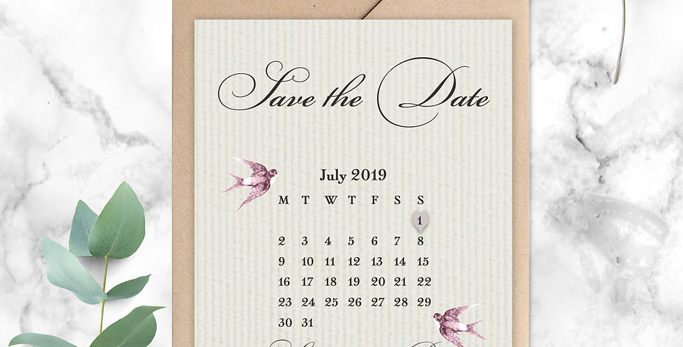 No 2. | Vintage Swallows Save the Date