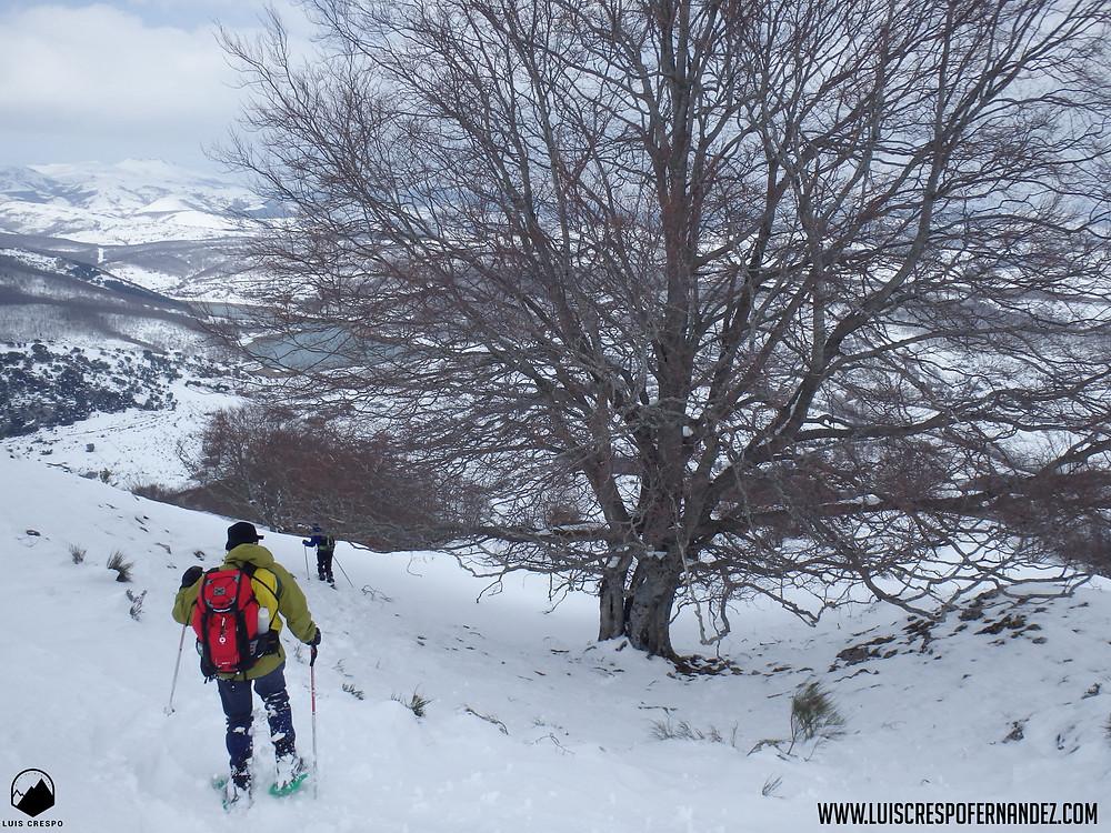 Descendiendo desde la cima del Pico Almonga hacia el pantano de Ruesga para hacer la ruta circular.